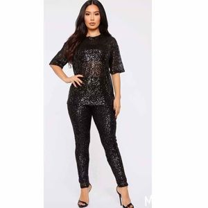 Fashion Nova Sequin Black Legging Set 2pc Large